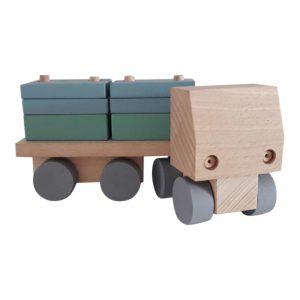 Vrachtwagen met rechthoekige blokjes